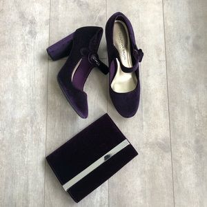Christian Soriano purple velvet heels